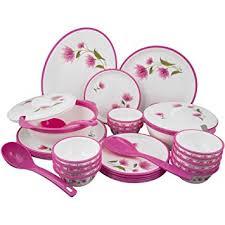 buy nayasa dlx dinner set 32 pieces pink at low