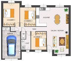plan maison en l plain pied 3 chambres plan de maison plain pied 3 chambres avec garage plan maison