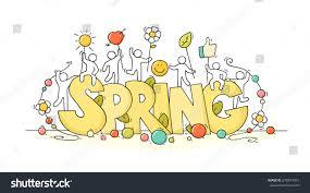 sketch little people big word spring stock vector 678814015
