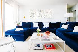 id design sofa living room transitional with blue velvet sectional