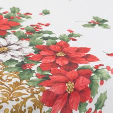 festive poinsettia tablecloth 100 polyester floral home