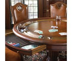 Leather Game Table Chairs Luxury High End Leather Top Card Table For Six With Drawer