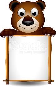 imagenes animadas oso dibujos animados de oso pardo con cartel en blanco stock vector