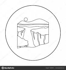 grand canyon icon in outline style isolated on white background