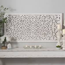 white carved wood wall panel kirklands