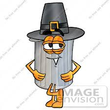 clip graphic of a metal trash can character wearing a