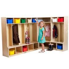 kids lockers ecr4kids birch l shaped kids locker set with bench elr spc 22201