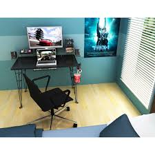 U Shaped Gaming Desk by Atlantic Furniture Gaming Desk Black Carbon Fiber Walmart Com