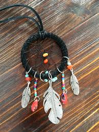 red leather necklace images Reserved black leather dream catcher necklace my gypsy store jpg