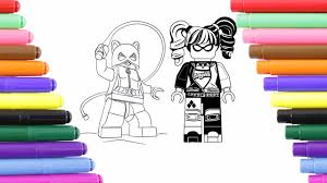 harley quinn and catwoman coloring page for kids coloring book