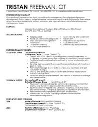 resume exles for therapist best occupational therapist resume exle livecareer
