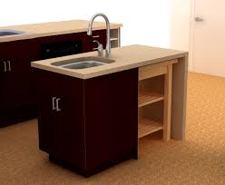 kitchen island with sink and stove top double handle curved steel