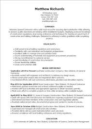 Sample Resume Of An Architect by Professional General Contractor Templates To Showcase Your Talent