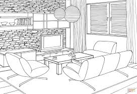 stone wall in the living room coloring page free printable