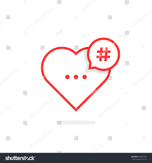 red heart like hashtag logo concept stock vector 534599182
