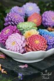 Zinnias Flowers A Fanciful Twist Let U0027s Make Zinnia Flowers From Pine Cones