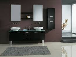 black floating bathroom vanity cabinet with curved drawer combined