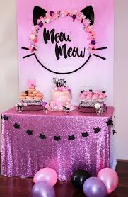 birthday ideas meow meow birthday party birthday party desserts dessert table