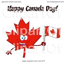 clipart of a red maple leaf mascot character holding a flag under