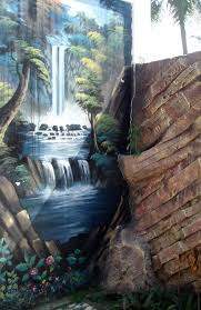 file waterfall painting on wall ds jpg wikimedia commons