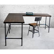 L Shaped Metal Desk Furniture Industrial L Shaped Reclaimed Wood Desk With Pipe Metal