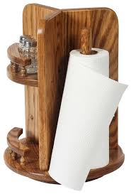amish wood kitchen utensil lazy susan with paper towel holder and