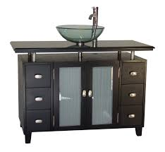 Bathroom Vanities With Vessel Sinks Adelina 46 Inch Vessel Sink Bathroom Vanity Black Granite Top