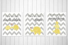 nursery art elephant print grey and yellow nursery set of 3