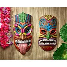 wall masks set of 2 polynesian pop culture vibrant hawaiian tiki wall