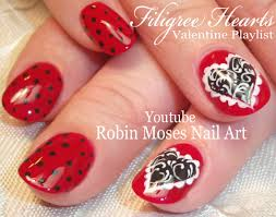 valentine u0027s day nails filigree heart nail art design tutorial