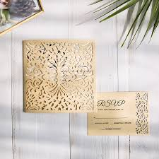 Folded Wedding Invitations Gold Laser Cut Pocket Wedding Invitations With Matching Rsvp Cards