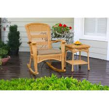 Outdoor Rocking Chair Cushion Sets 3pc Outdoor Porch Rocker Set W 2 Amber Wicker Resin Rocking