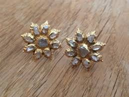 buckingham earrings vintage antique solid 18ct 18k gold and diamond earrings in