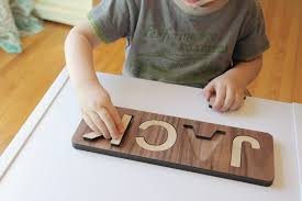 handmade wooden name puzzle smiling tree