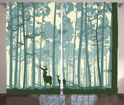 deer curtains 2 panels set animals in foggy forest home decor ebay