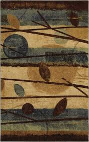 free flow modern forest blue country leaves mohawk rug 11435