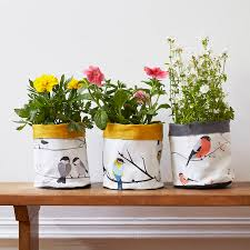 fabric plant pot or storage pot by lorna syson