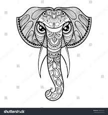 vector ornamental head elephant ethnic zentangled stock vector