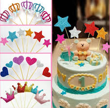cake topper banner 2018 shiny heart crown cake toppers paper cards banner for