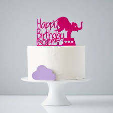 birthday cake topper circus elephant personalised birthday cake topper by