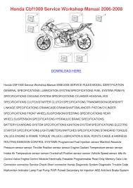 honda cbf1000 service workshop manual 2006 20 by mistymcneill issuu