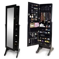 Jewelry Full Length Mirror Armoire Amazon Com Organizedlife Black Mirrored Jewelry Cabinet Armoire