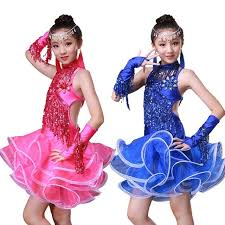 kids gold sequin child costume latin fringe dress ballroom