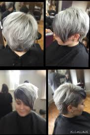 silver grey hair short textured hair cut big bangs short layers