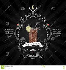 coctail party poster black and white stock illustration image
