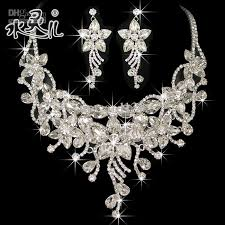 bridal necklace earring images Silver diamond flower bridal necklace earring set rhinestone party jpg