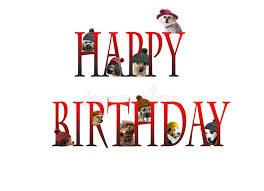Happy Birthday Design Card Happy Birthday Lettering With Dogs Stock Photo Image 68165844