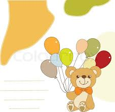 teddy balloons new baby announcement card with teddy and balloons stock