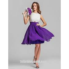 violet bridesmaid dresses dazzling two color tones chiffon mini white and purple bridesmaid