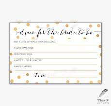advice for the cards gold black bridal advice card printed or printable instant